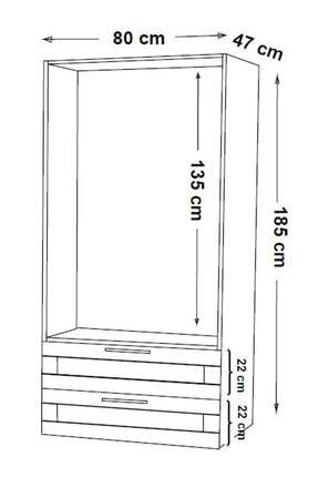 DEKOREX Mnt-216-Beyaz -İki Kapaklı İki Çekmeceli Gardırop 4