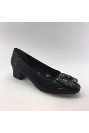 PUNTO Kısa Kalın Topuklu Cilt Deri Kadın Ayakkabısı 0
