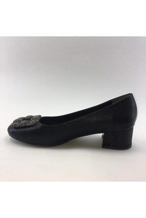 PUNTO Kısa Kalın Topuklu Cilt Deri Kadın Ayakkabısı 1