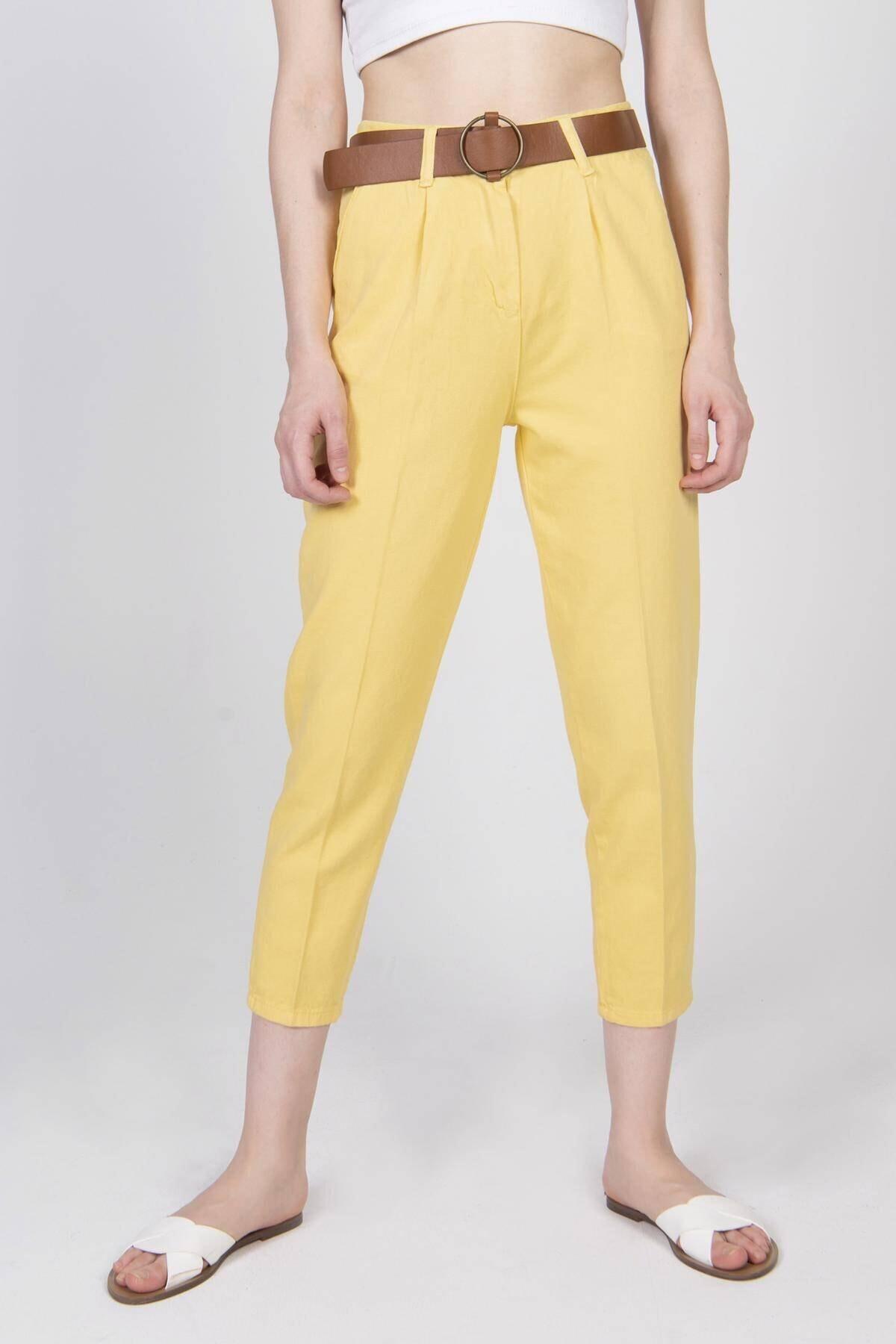 Addax Kadın Sarı Kemerli Pantolon PN4204 - T3 ADX-0000020952 1