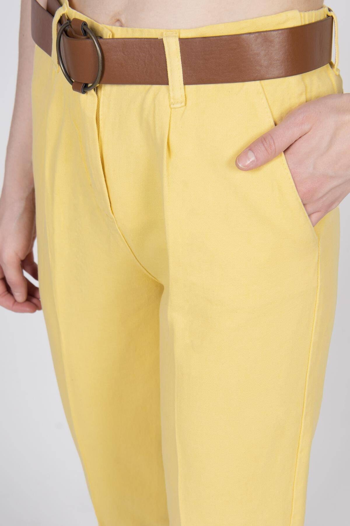 Addax Kadın Sarı Kemerli Pantolon PN4204 - T3 ADX-0000020952 2