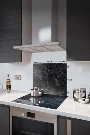 Decorita Siyah Mermer Görünümlü | Cam Ocak Arkası Koruyucu   |  52cm x 60cm 0