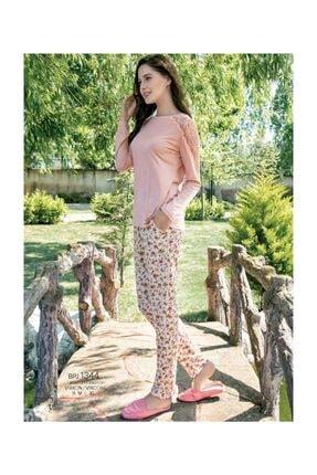 Yeni İnci Kadın Somon Dantel Detaylı Pamuklu Pijama Takımı 0