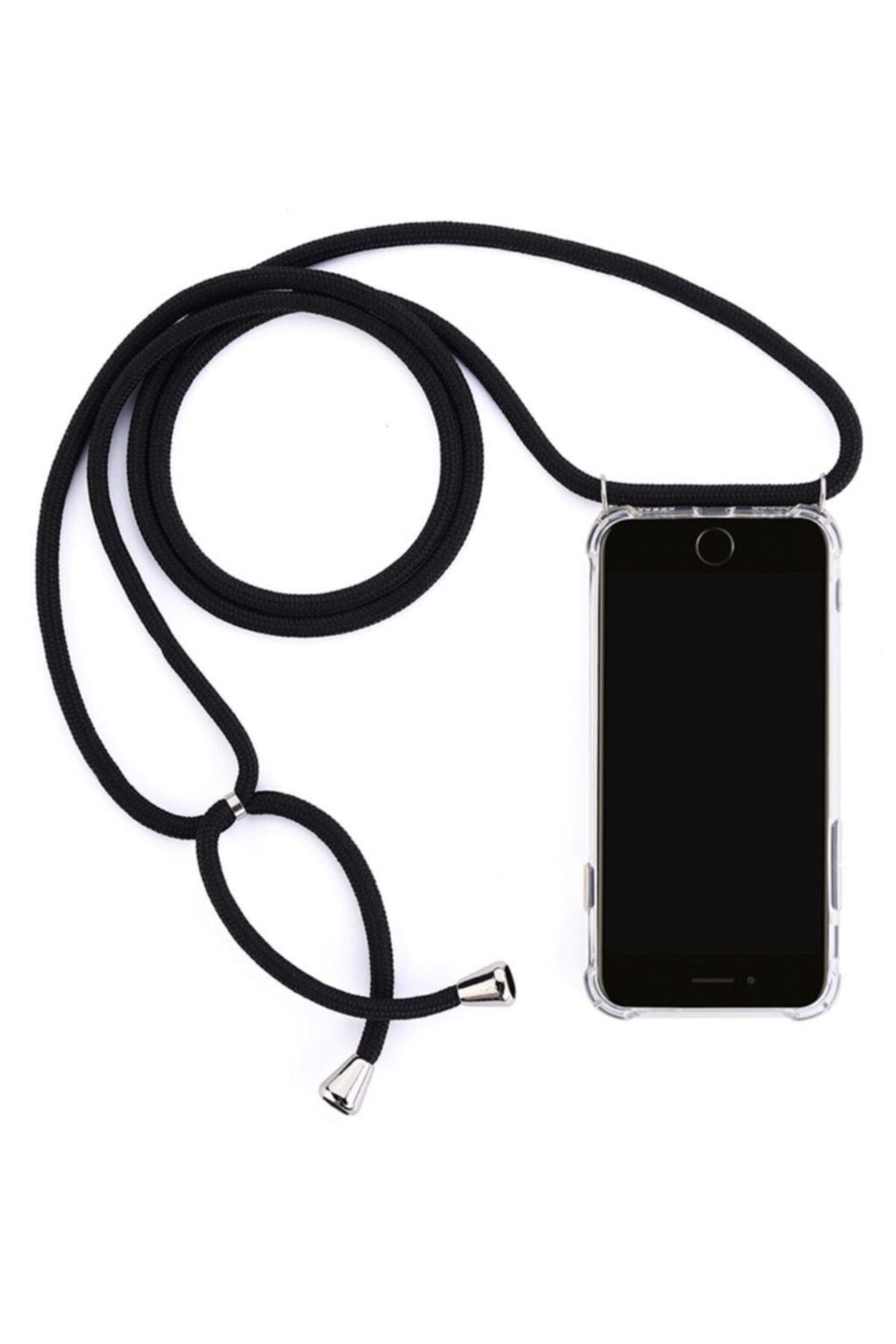 Iphone 6s Plus Için Boyun Askılı Şeffaf Çok Şık Kılıf Siyah Ipli