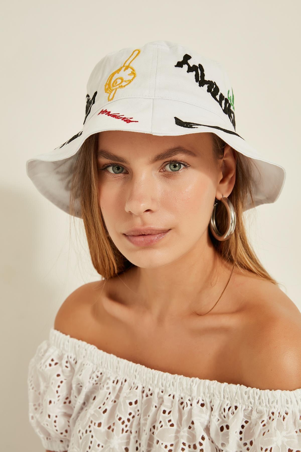 Y-London 13250 Nakış Detaylı Beyaz Bucket Şapka 0