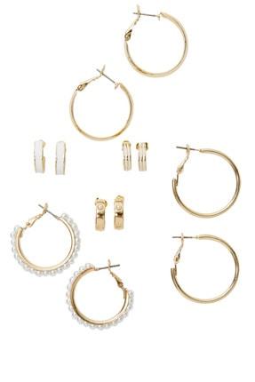 Stradivarius Kadın Beyaz 6'Lı Renkli Halka Küpe Seti 00080005 0