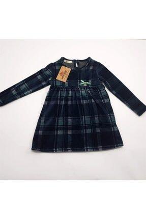 anakuzusu Via Kız Bebek Ekoselı Kadife Elbise 0