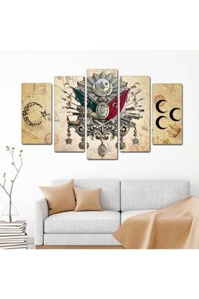 bu tablolar harika Osmanlı Kahve Zemin Ay Yıldız Dekoratif 5 Parçalı Mdf Tablo 0