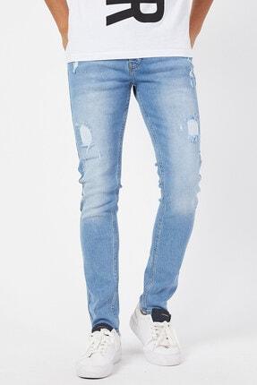 Erkek Buz Mavisi Yırtık Jeans Super Skinny DR5475K138