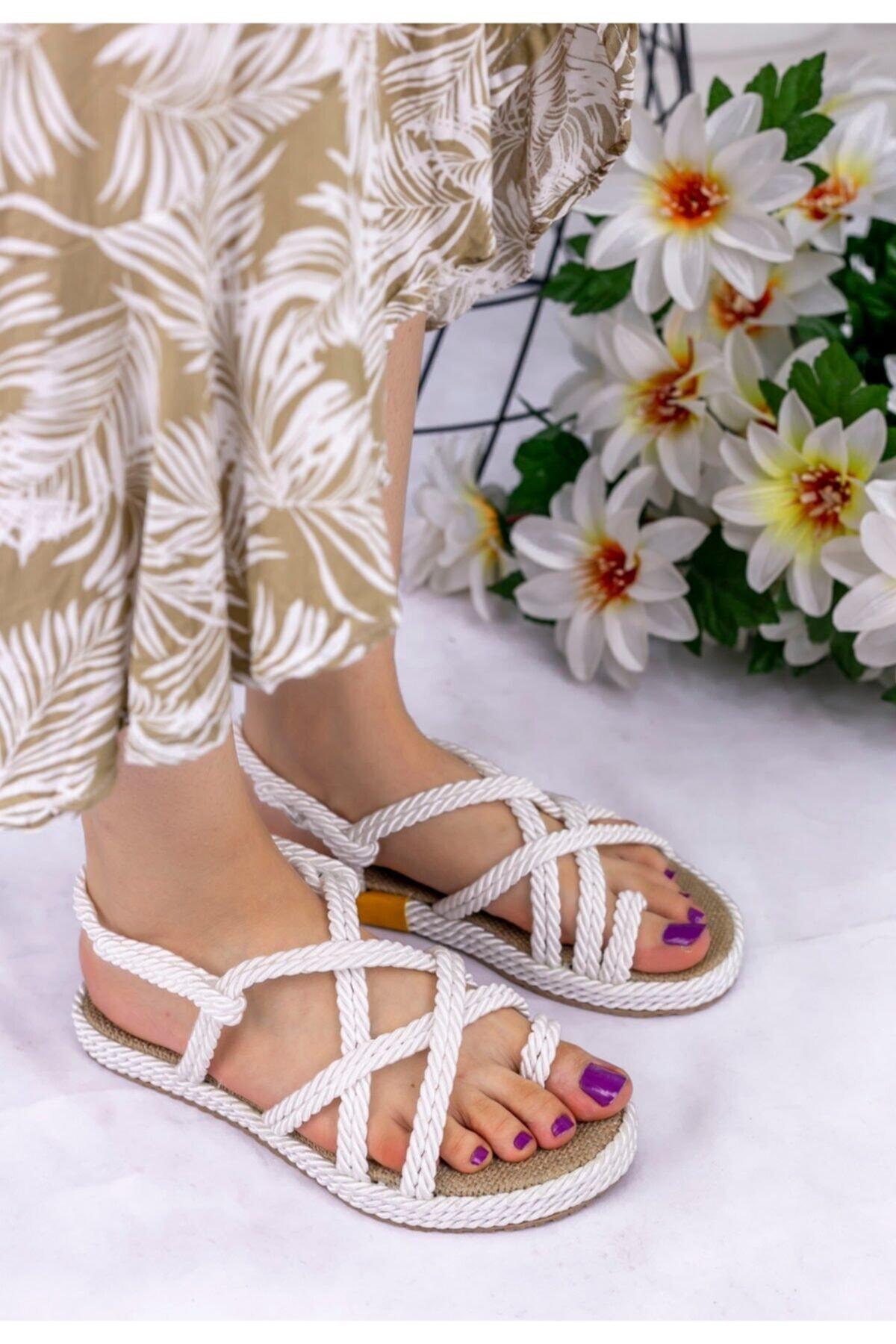 Matador Kadın Beyaz Halatlı Sandalet