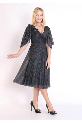 Moda Tuğram Kadın Siyah 3d Kumaş Abiye 2
