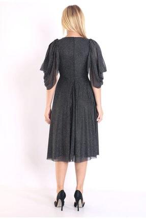 Moda Tuğram Kadın Siyah 3d Kumaş Abiye 3