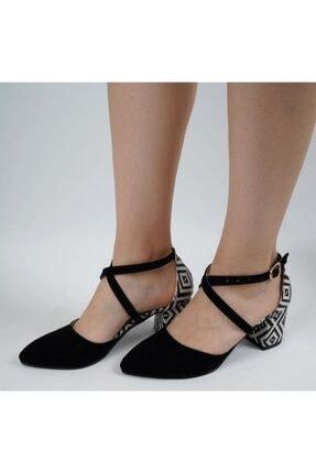 say Siyah Süet Etnik Klim Desenli Çapraz Bantlı Ayakkabı 0