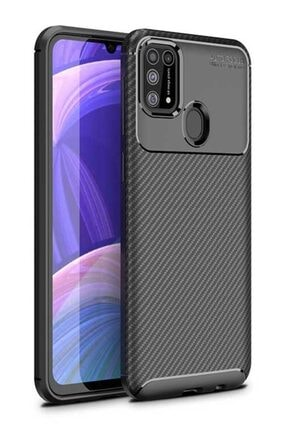 Eiroo Rugged Carbon Samsung Galaxy M31 Siyah Silikon Kılıf 0