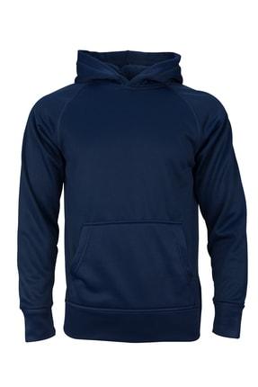 Unisex Lacivert - Basic Fleece Hoodie Spor Sweatshirt FI2050