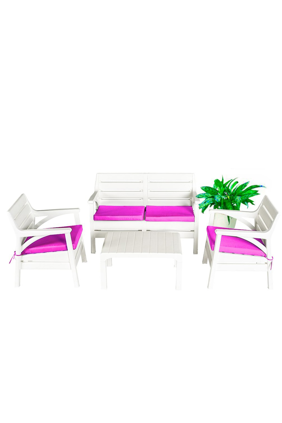Miami Bahçe Ve Balkon Seti Beyaz Oturma Grubu Pembe Minderli Özel Seri