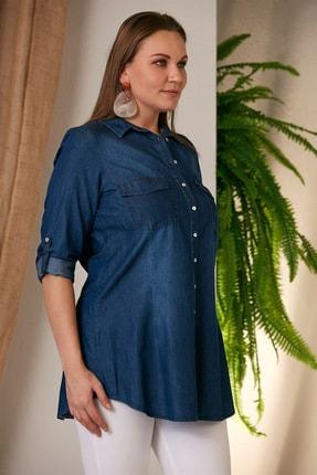 Rmg Kadın Kim.Mavi Büyük Beden Kim Mavi Gömlek O4235 1