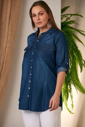 Rmg Kadın Kim.Mavi Büyük Beden Kim Mavi Gömlek O4235 2