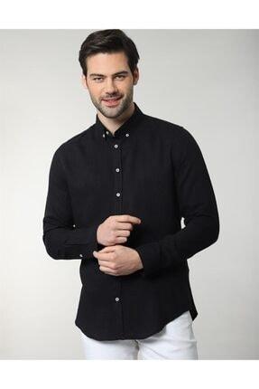 Tudors Erkek  Siyah Slim Fit Keten Spor Gömlek 1
