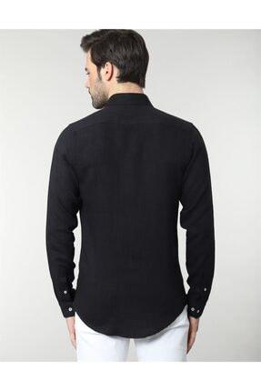 Tudors Erkek  Siyah Slim Fit Keten Spor Gömlek 2