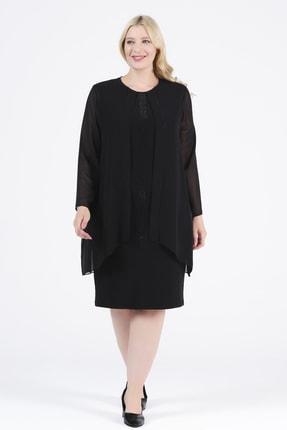 Oktay Kadın Siyah Şifon Ithal Krep Önü Taşlı Bluzan Abiye Elbise 0