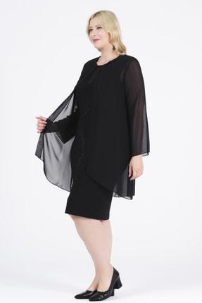 Oktay Kadın Siyah Şifon Ithal Krep Önü Taşlı Bluzan Abiye Elbise 2
