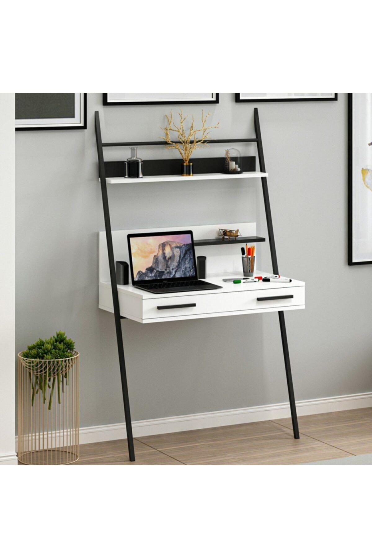 Hang Metal Ayaklı Home Office Çalışma Masası - Beyaz/siyah