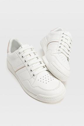Stradivarius Kadın Beyaz Topuk Parçası Detaylı Spor Ayakkabı 19500670 2