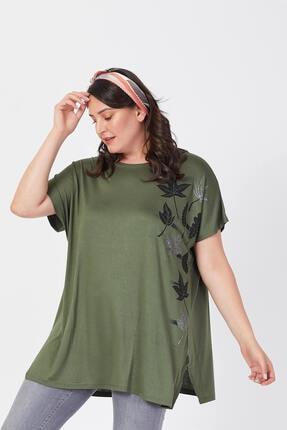 Siyezen Büyük Beden Haki Yeşili Salaş Sarmaşık Yaprak Baskılı T-shirt 1