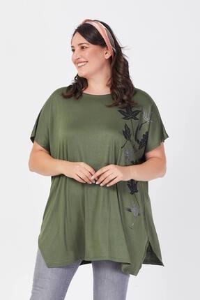 Siyezen Büyük Beden Haki Yeşili Salaş Sarmaşık Yaprak Baskılı T-shirt 3