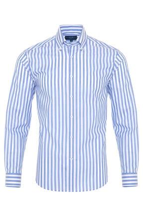 Germirli Erkek Mavi Beyaz Çizgili Düğmeli Yaka Tailor Fit Gömlek 0