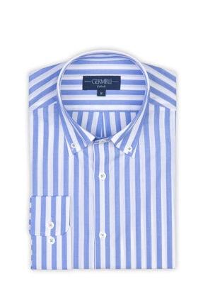 Germirli Erkek Mavi Beyaz Çizgili Düğmeli Yaka Tailor Fit Gömlek 1