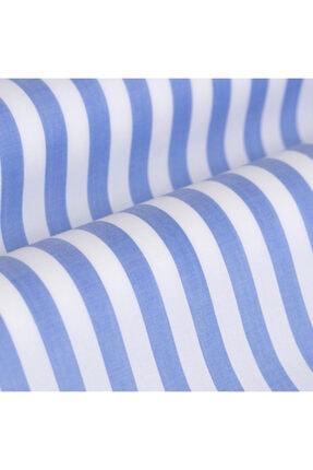 Germirli Erkek Mavi Beyaz Çizgili Düğmeli Yaka Tailor Fit Gömlek 2