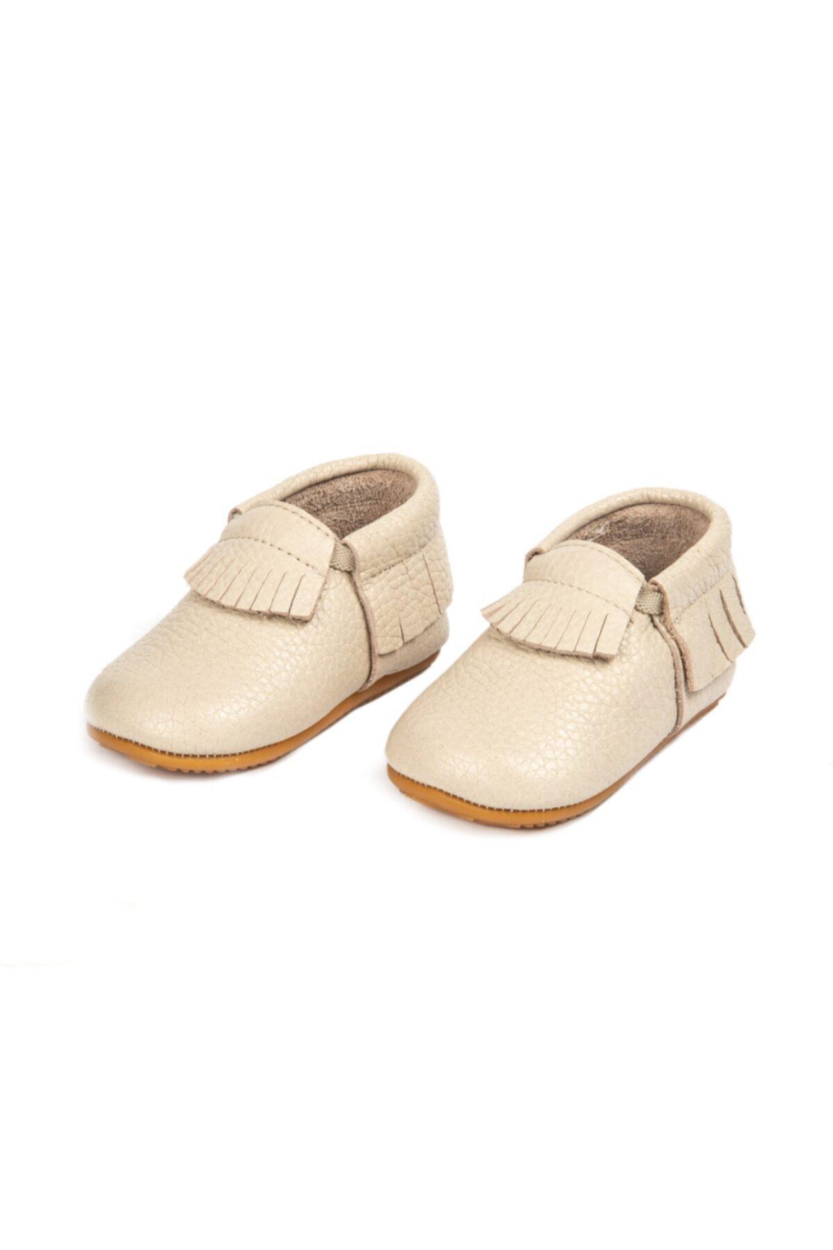 Erkek Bej Bebek Makosen  Ilk Adım Ayakkabısı Hakiki Deri Anatomik Kauçuk Taban   19