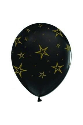 KullanAtParty Siyah Çepeçevreli Altın Yıldızlı Balon 100 Adet 0