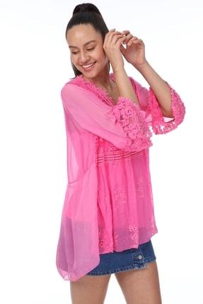 Luısıdo Kadın Pembe V Yaka Çiçek Işemeli Ipek Bluz 2