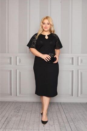 Kadın Siyah Dantelli Broşlu Diz Altı Elbise TRD0090