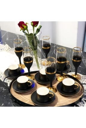 Paşabahçe El Dekorlu Siyah Gold Işlemeli 6 Kişilik Kahve Yanı Cam Su Bardağı Seti, Çeyizlik Set, Hediyelik Set 0