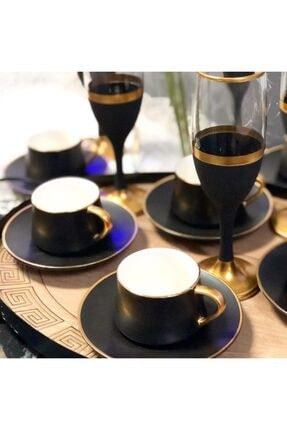 Paşabahçe El Dekorlu Siyah Gold Işlemeli 6 Kişilik Kahve Yanı Cam Su Bardağı Seti, Çeyizlik Set, Hediyelik Set 1