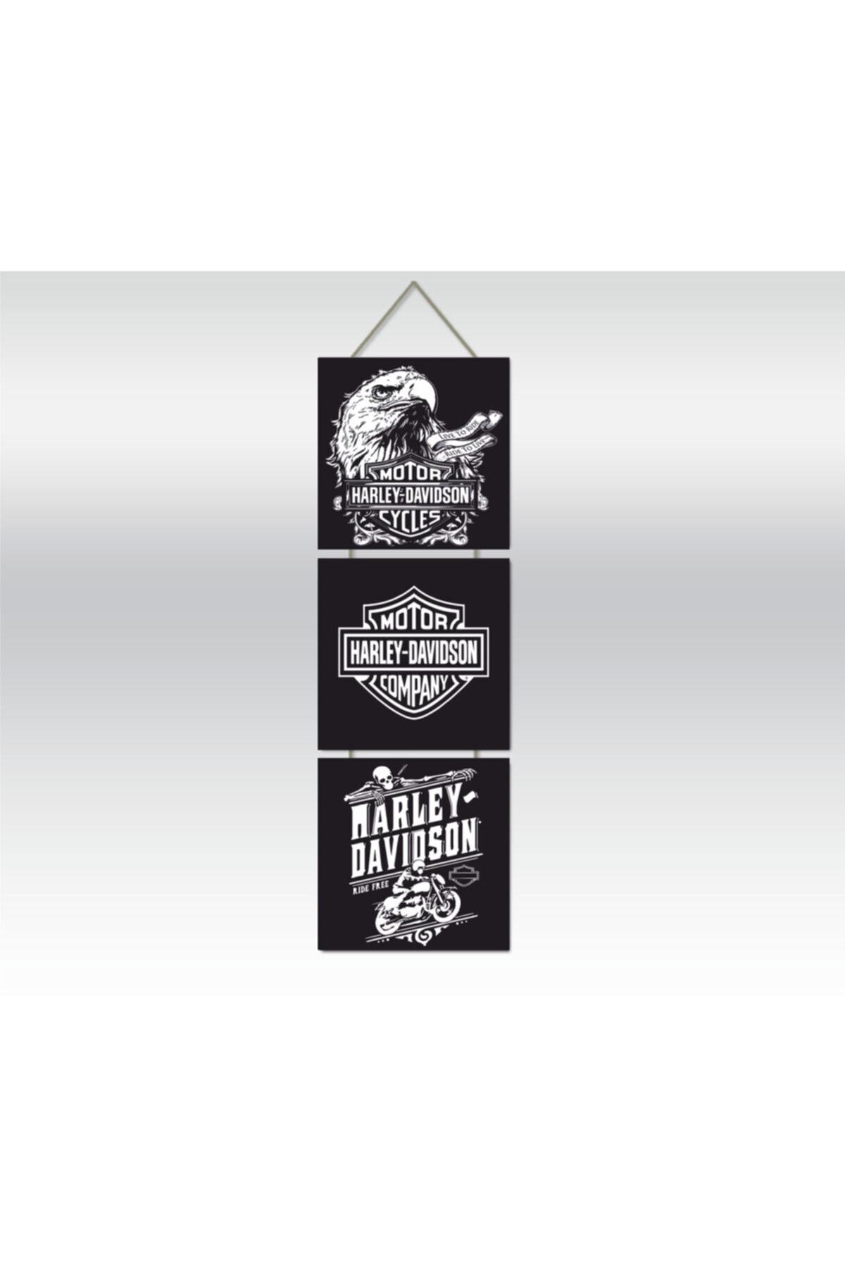 Harley Davidson Motorcycles Üçlü Retro Ahşap Poster