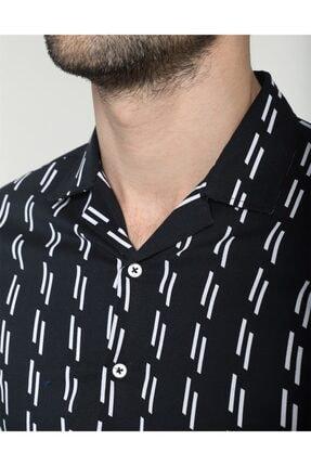 Tudors Erkek Siyah Slim Fit Likralı Spor Gömlek 3
