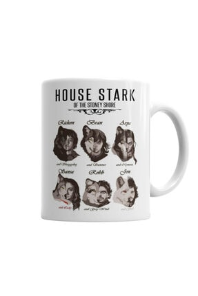 Baskı Dükkanı Game Of Thrones Stark Children And Wolves Kupa Bardak Porselen 0