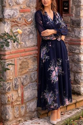 Lacivert Sarı Çiçekli Kruvaze Yaka Uzun Şifon Elbise ELBISEDELISI-0004