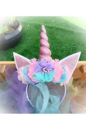 Kokoş Çiçekli Unicorn Taç Özel Tasarım Doğum Günü Saç Aksesuarı 0