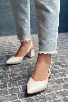 Straswans Kadın Beyaz Topuklu Deri Ayakkabı-Hanna 1