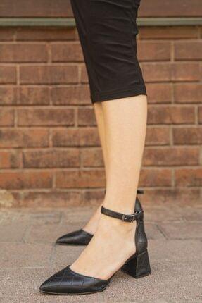 Straswans Kadın Siyah Deri Kapitoneli Topuklu Ayakkabı-Holly 1