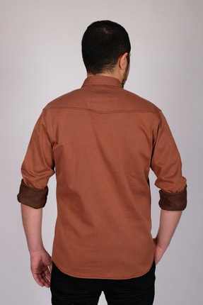 bombe Erkek Kiremit Çift Cepli Çıtçıtlı Kot Gömlek 176059 3