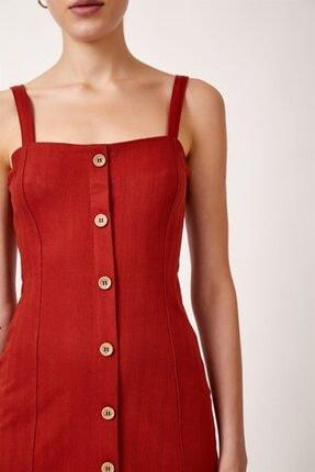 Never more Kadın Kırmızı Düğmeli Askılı Elbise 2