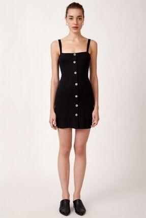 Never more Kadın Siyah Düğmeli Askılı Elbise 2