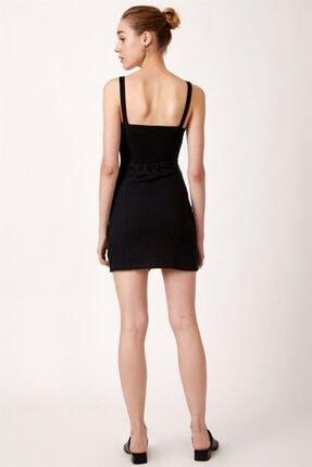 Never more Kadın Siyah Düğmeli Askılı Elbise 4